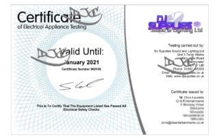 PAT Test Certificate